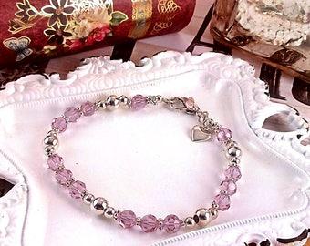 Handmade Cantaloupe Swarovski Crystal & Sterling Silver Bracelet