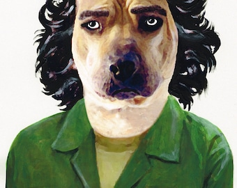 Animal painting portrait painting Giclee Print Acrylic Painting Illustration Print wall art wall decor Wall Hanging: Che Guevara Dog
