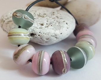 ENGLISH ROSE bead set - Lampwork glass beads, Jewelry, Jewellery, Pink, Silver glass, Shiny Beads, Etched Beads, Earring Pairs, Necklace