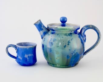 Large Teapot, Ceramic, Crystalline Glaze