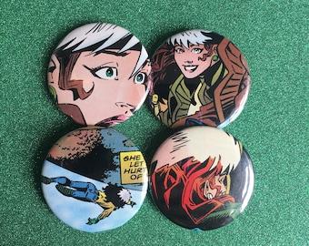 Rogue, X Men Comic Buttons, Anna Marie, X Men Rogue, X Men Comic, Vintage Marvel Comic