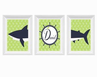 Shark Art Nursery Decor Personalized Name Green Navy Blue Wall Art Ocean Boy's Room Print of 3-8X10 Kids Room Baby's Room Decor