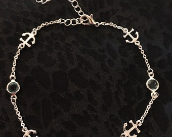 Anchor Anklet made with Sterling Silver and Light Blue Sea Glass