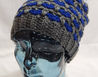 Blue And Gray Slouchy Hat