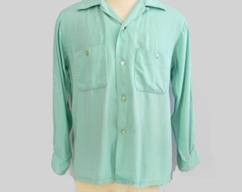 Vintage 40s 50s shirt Men's Gabardine Shirt , 1940s Top Loop Top Stitch Shirt , 1950s Aqua Rockabilly Shirt M L