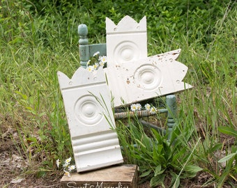 Architectural Salvage Plinth Block - Chippy White Paint -Interior Molding - Reclaimed Wood Trim - from Early Victorian House