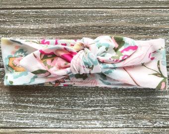 Pink Floral Print Baby Headband - Top Knot Headband - Stretch Headband - Modern Boho Baby - Flowers - Bright Floral - Springtime Garden