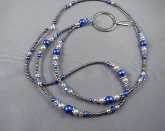 """Beaded breakaway lanyard blue and gray glass pearls and crystals 32"""" to 44""""ID badge holder with magnetic or toggle clasp  ,unique fashion"""