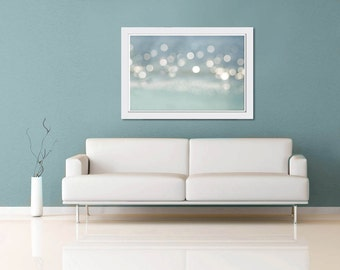 large abstract art large wall art abstract print nautical decor bokeh photography decor beach seen on Project Runway pastel blue gray