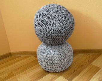 Crochet Ottoman, pouf, ottoman scandinavian, floor pillows, footstool, crochet pouf, cotton cord,kids pouf, stuffed pouf, sitzkissen, siege,