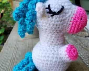 Sparkly Unicorn Amigurumi crochet doll, stuffed unicorn, crochet unicorn plush, unicorn decor, crochet doll, magical unicorn, baby shower