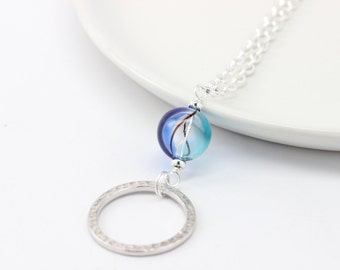 Silver Eyeglass Necklace with Blue Murano Glass Orb - Eye Glasses Holder - Eyeglass Leash - Blue Lanyard - Eyeglass Loop Necklace