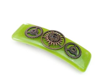 Hair Barrette, Green with Bronze Steampunk Gears Cogs Sprockets, Large