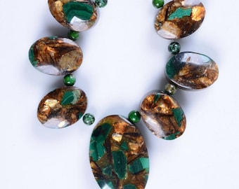 g2273.2 18mm to 30mm Copper malachite graduated oval beads pendant beads set