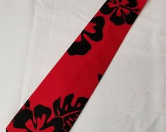 Red Hawaiian Print Necktie - Mens, Skinny, Boys or Toddler/Baby