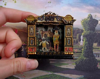 Puppet theater. Dolls house miniature. Handcrafted miniature. For doll House. 1:12 Scale.