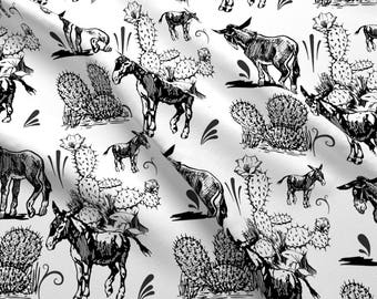Black + White Burro Fabric - Donkeys By Bluevelvet - Southwestern Donkey Cotton Fabric By The Yard With Spoonflower