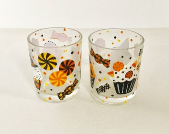Votive Candle Holders - Set of 2 Halloween Candy Glass Candle Holders