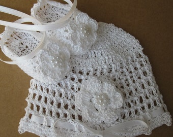 Crochet Newborn Baby Hat Booties Set Baptismal Infant Girl Bonnet Crib Shoes Christening Knit Baby Beanie Mary Janes Reborn Doll Cap