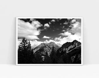 Mountain Black White Mountain Landscape Pine Tree Photo Alps Photography Nordic Poster Willderness Gift Nature Lover Hiking Alps Poster Art