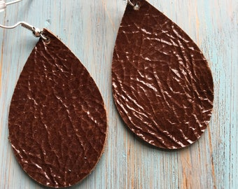 Glossy brown geniune leather earrings
