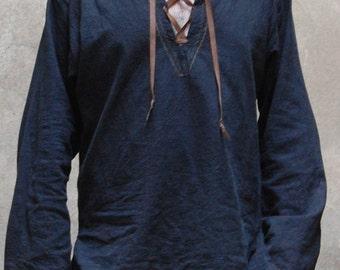 Black historical linen shirt  viking inspiration for modern days