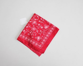 red floral handkerchief | USA made | 70s red neck scarf