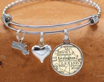 Map Bracelet Lexington Massachusetts State of MA Bangle Cuff Bracelet Vintage Map Jewelry Stainless Steel Bracelets Map Gifts