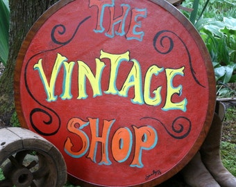 Custom Business Sign, Handmade Wood Sign, The Vintage Shop, Store Boutique Sign