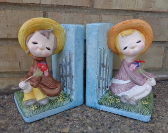 Vintage Boy and Girl Bookends Mod 1970's  Book Ends with Flowers