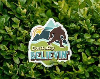BIGFOOT Sasquatch Believe Cryptid Sticker Adventure Sticker Pacific Northwest PNW Outdoorsy Sticker Explore Bigfoot Illustration Folklore
