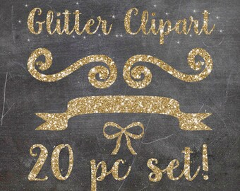 Gold glitter clipart, 20 pc digital glitter clipart, glitter digital paper, glitter scrapbook kit, gold clip art, commercial use okay