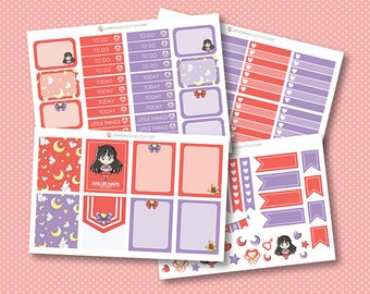Sailor Moon - Mars Add-on Planner Stickers, matte glossy planner stickers, life planner stickers, erin condren filofax, mambi happy planner