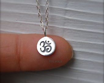 Tiny Ohm (Om) necklace, Zen necklace, yoga necklace, spiritual necklace.