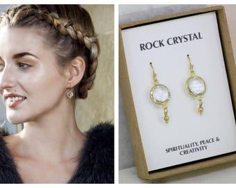 Rock crystal earrings, gemstone drop earrings, Christmas gift for daughter, wife, sister, girlfriend, crystal quartz drop earrings - Bay