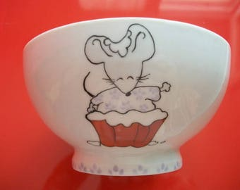 """Bowl decorated """"Mouse so tasty!"""", Limoges porcelain bowl, Bowl, small bowl hand painted girl, child's bowl"""