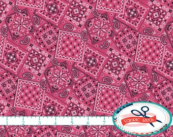 PINK BANDANA Fabric by the Yard, Fat Quarter Medium PINK Bandanna Fabric Pink Fabric Apparel Fabric Quilting Fabric 100% Cotton Fabric w2-29