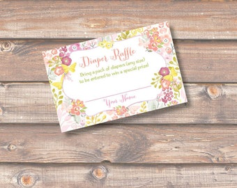 Floral Butterfly Garden Baby Shower Diaper Raffle Tickets Baby Girl Shower Twin Girls Baby Shower Diaper Raffle Watercolor INSTANT DOWNLOAD
