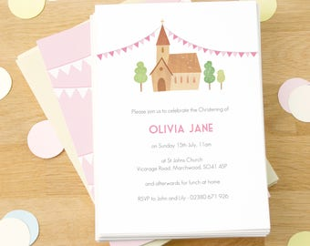 Personalised Girl's Christening Invitations -- Minimum order 8