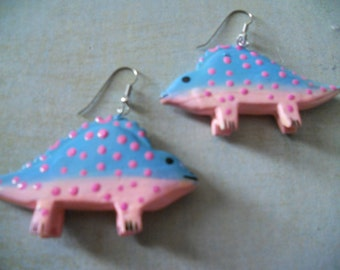 Dinosaur Stegosaurus Blue and Pink Earrings - For the Serious Anthropologist and Dino Lover - Tiger Lily Jewelry New Old Stock
