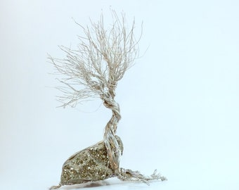Wire tree /  pyrite coffee table art. desk accessory.  Wire sculpture. Art nouveau/woodland gift