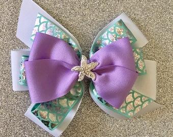 Little Mermaid Bow Ariel Hair Bow with Rhinestone Starfish Purple Mermaid Bow Disney Princess Bow Aqua Mermaid Bow with Mermaid Scale Ribbon