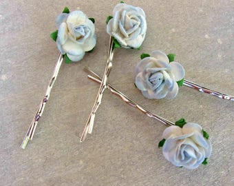 Dusky Blue Rose Hair Pins, Rose Clips, Bobby Pins, Rose Slides, Country Wedding Hair, Bridesmaid, Flower Pins, Boho Hair Pins, Flowergirl,