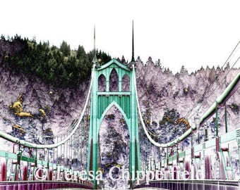 St. Johns Bridge Print, PDX, Green Bridge Art Photo, 8x10,16x24, Abstract Portland Bridge Wall Art, Woodland Photo, Vintage Urban Decor