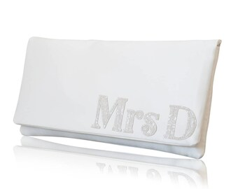 Ivory satin MRS personalised serif initial wedding day bridal clutch purse