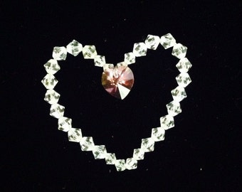 Swarovski Crystal Beaded Heart charm pendant