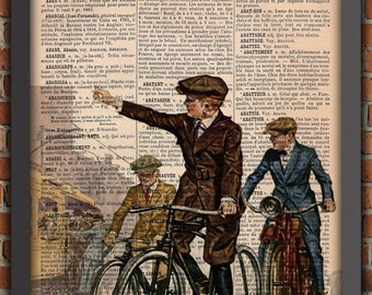 Boys Childhood Retro Bikes Industrial Office Decor Photography Vintage Art Print Home Decor Gift Poster Original Dictionary Page Print