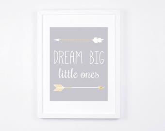 Dream Big Little Ones Print, Arrows Printable Wall Art, Twins Room Nursery Art, Modern Nursery Decor, Grey and Gold Baby Art, Neutral