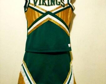 Vintage Women's Cheerleading Outfit| Green White & Gold Cheerleader Costume| Authentic West High School Vikings Cheerleader Uniform|Retro