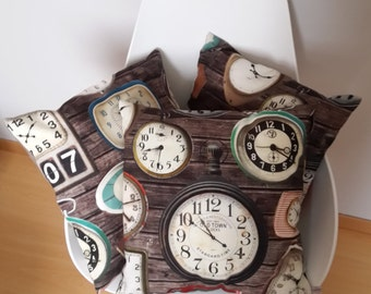Cushion cover patterns with vintage industrial decor clock, vintage decor, mothers day gift